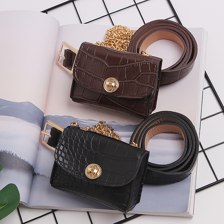 Mini Fanny Packs Women MIni Alligator Pattern PU Leather Waist Belt WIth Bag Detachable Metal Chain Coin Crossbody SHoulder Bag