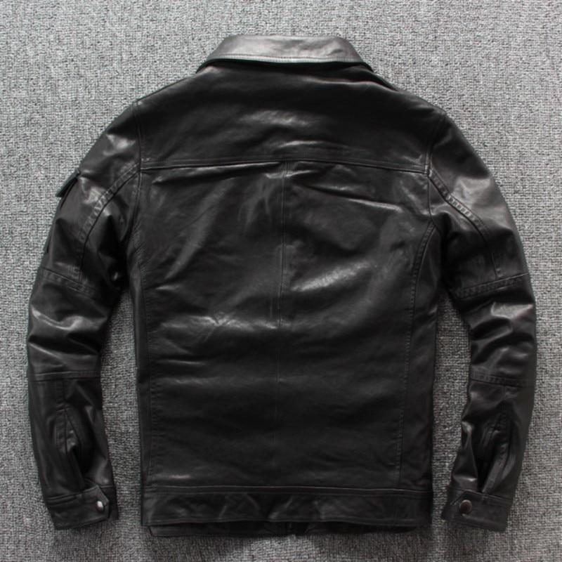 Autumn New Punck Sheep Leather Mens Moto Biker SheepSkin Slim Fit Turn Down  Collar Short Leather Jacket Black Pockets Coat
