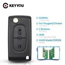 KEYYOU-llave de coche plegable con hoja sin cortar para Peugeot 433, 107, 207 MHz, ASK ID46, CE0536, 2 botones, HU83, llave de coche plegable remota para Peugeot 307, 308, 407, 607 y