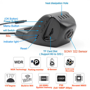 Image 5 - XCGaoon Wifi 170 תואר רכב DVR מקליט וידאו מצלמת וידאו דאש מצלמה 1080P לילה גרסת Novatek 96655 להשתמש SONY 322 חיישן