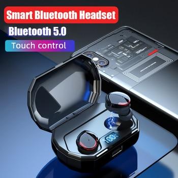 Mini Sport Bluetooth5.0 Earphone IPX7 Waterproof Touch Wireless Earbuds 2000mAh Charging Case Emergency Power Bank Dropshipping
