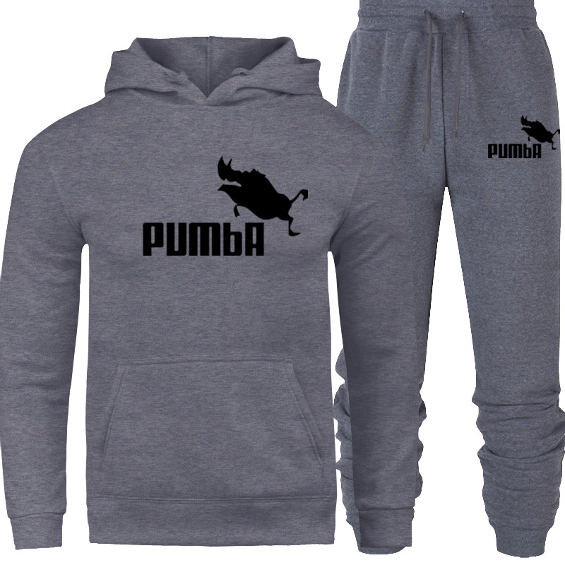 Pum Prints Hooded Men Casual Cotton Fall / Winter Warm Sweatshirts Men's Casual Tracksuit Costume 2019 New Sport Hoodies Suit