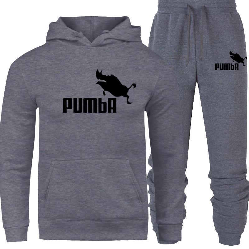 Pum Prints Hooded Men Casual Cotton Fall / Winter Warm Sweatshirts Men's Casual Tracksuit Costume 2019 New Sport Hoodies Suit