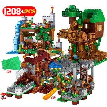 My World Sets Building Blocks Village City Tree House Waterfall Warhorse Bricks Toys for Children