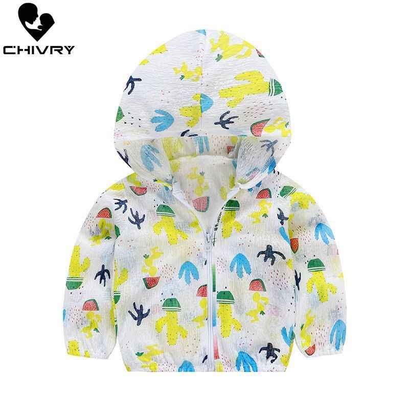 ใหม่ 2019 เด็กป้องกันดวงอาทิตย์เสื้อผ้าฤดูร้อนเด็กทารกเด็กชายหญิงบางเสื้อน่ารักการ์ตูนเด็กชายหาด Sun Jacket outwear