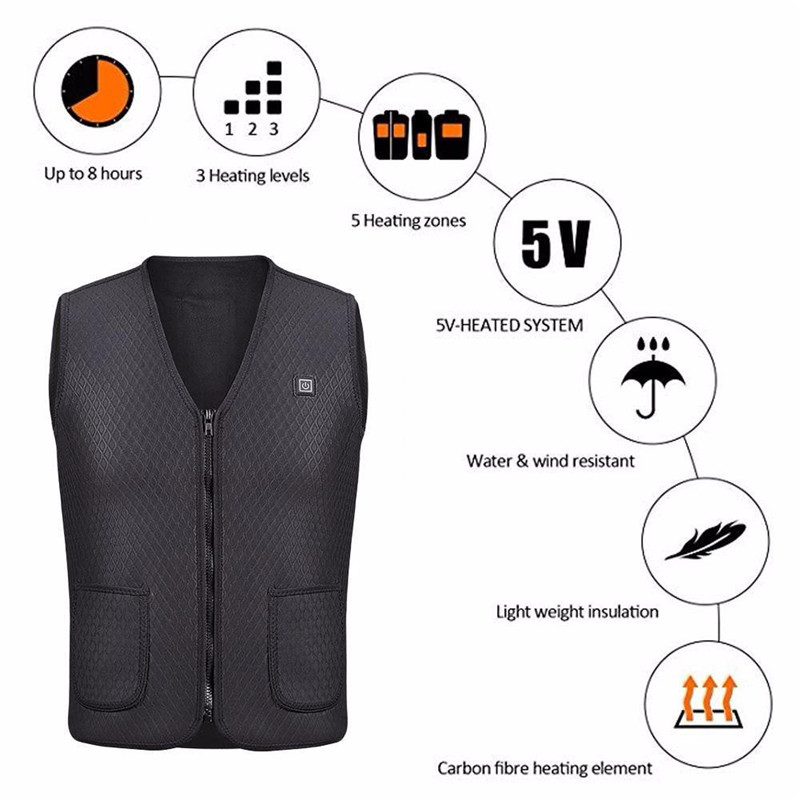 1PCS Men Women Outdoor USB Infrared Heating Vest Jacket Winter Flexible Electric Thermal Clothing Waistcoat Fishing Hiking