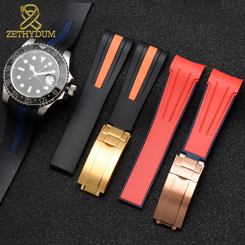 High quality Silicone Rubber bracelet 20mm 22mm watchband curve end sport watch strap fold buckle wristband belt black red color-in Watchbands from Watches