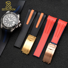High quality Silicone Rubber bracelet 20mm 22mm watchband curve end sport watch strap fold buckle wristband belt black red color
