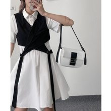 2021 Turn-down Collar Vest and Waist Swing Dress Women Streetwear Womens Outfits Preppy Summer Korean Style Young Matching Sets