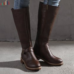 2019 Knees Square Heel Boots Women PU Leather Suede Matte Boots Slip on Zapatos De Mujer Solid Riding Knight Boots Winter Shoes 2