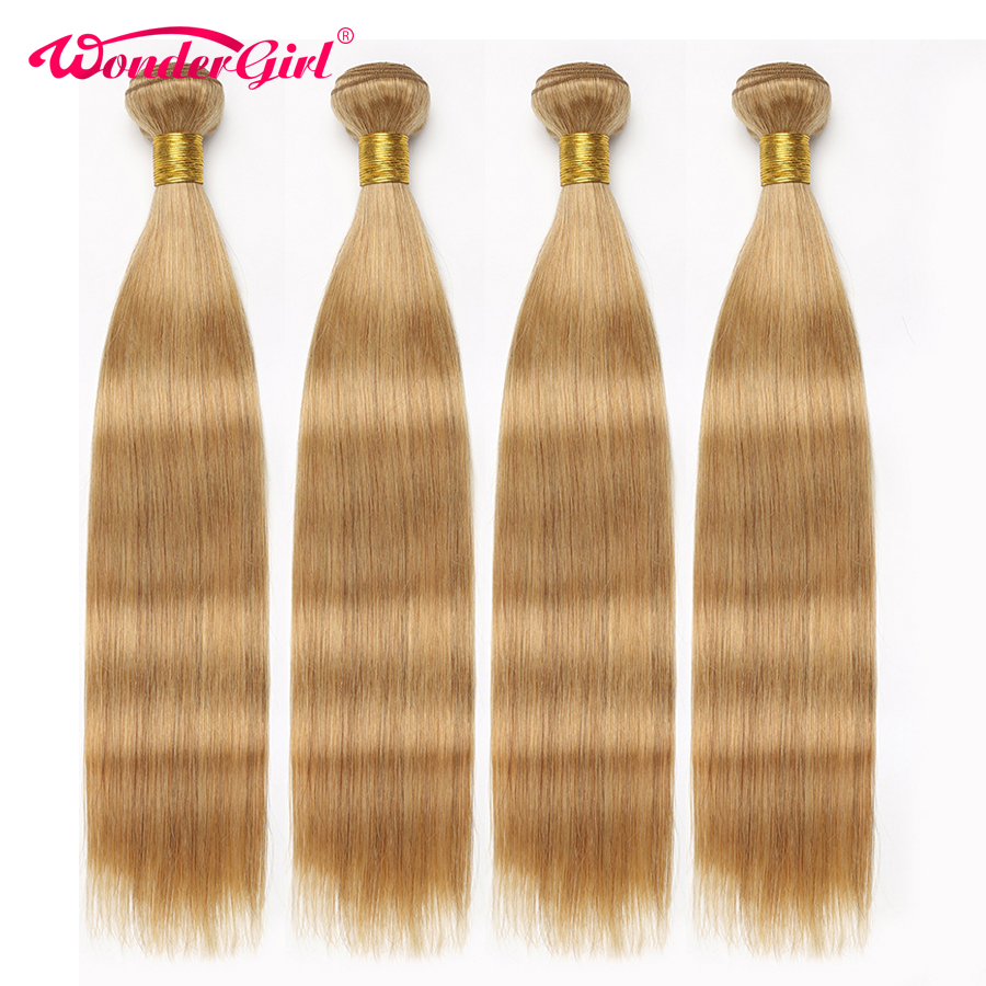 Wonder Girl 3 Bundle Deals Color 27 Honey Blonde Brazilian Straight Hair Extension 100% Human Hair Bundles 12-24inch Non-remy