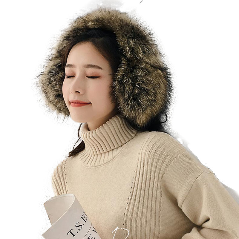 Female Real Fox Fur Winter Warm Earmuff Thick Women Genuine Fox Fur Earcap Ladies Fashion Winter Accessories Korea Ear Cap
