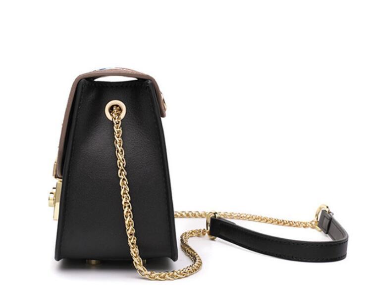 Sacs à bandoulière en cuir de vachette doré pour femmes sacs à rabat brodés sac à bandoulière petit sac à bandoulière - 4