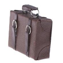 1pcs Dollhouse Miniature Vintage Leather Wood Suitcase Mini Doll Luggage Box Pretend Play Furniture Toys Accessory