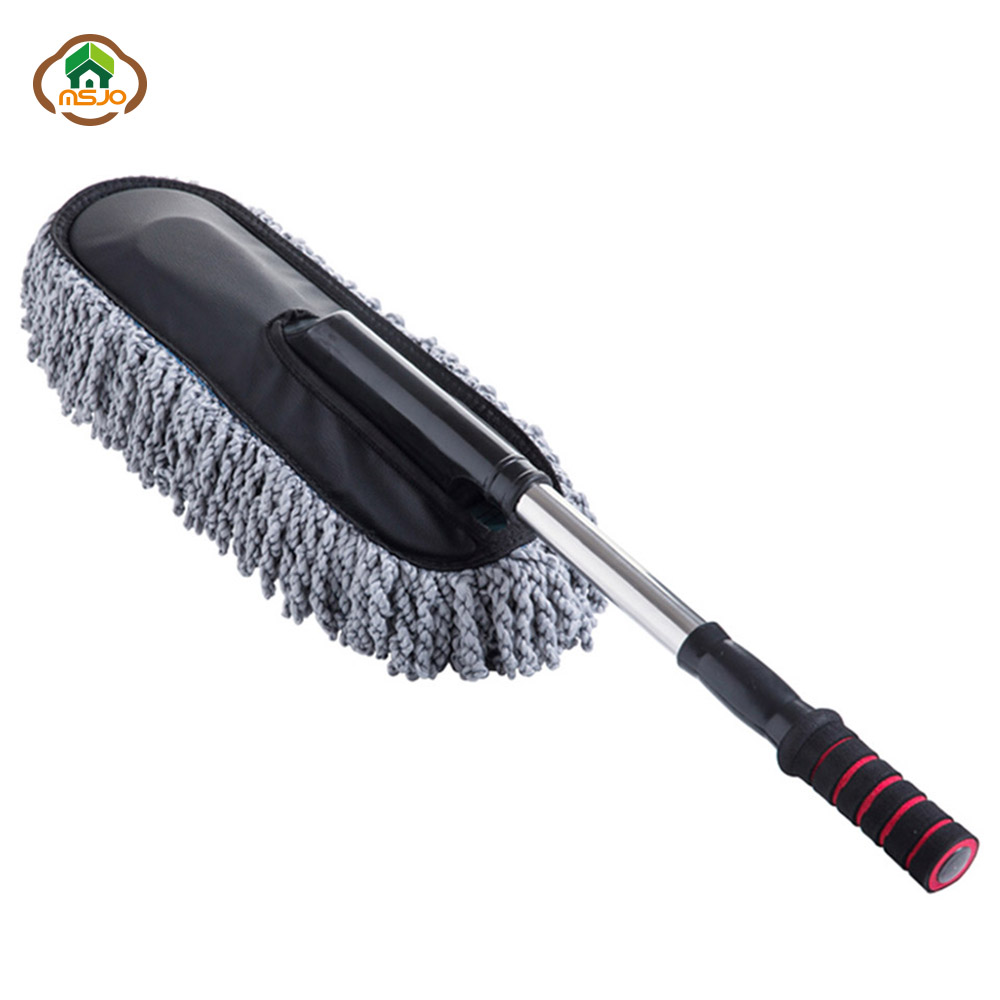 MSJO Car Cleaning Brush Dust Remover Long Handle Microfiber Duster Auto Adjustable Brush Car Care Towel Glass Window Cleaner