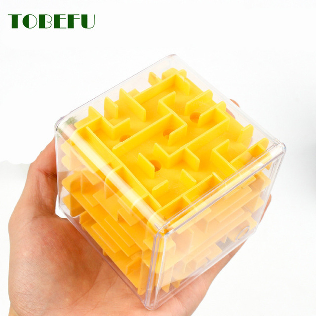 TOBEFU 3D Maze Magic Cube Transparent Six-sided Puzzle Speed Cube Rolling Ball Game Cubos Maze Toys for Children Educational 2