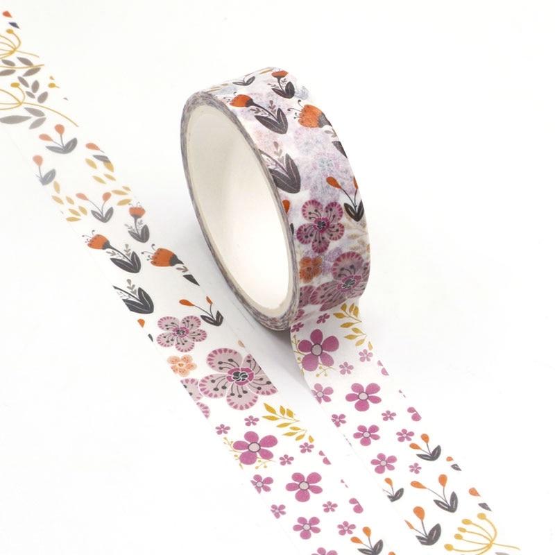 NEW Wholesale 10pcs/lot Decorative Purple Flowers Washi Tapes DIY Scrapbooking Planner Adhesive Masking Tapes Kawaii Stationery