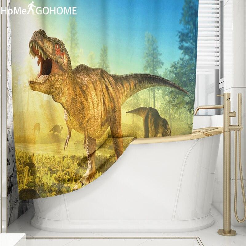Luxury Home Decor Shower Curtain Dinosaur 3D Anime Bathroom Curtains Waterproof Fabric Bath Shower Curtains rideau douche Gifts in Shower Curtains from Home Garden