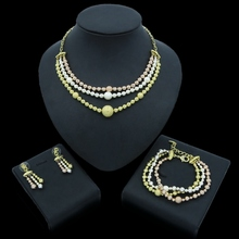 Yulaili New Fashion Dubai Gold Jewelry Sets African Beads Necklace Earrings Bracelet for Women Wedding Bridal Costume Jewellery недорого
