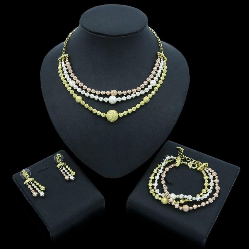 Yulaili nouvelle mode Dubai or bijoux ensembles perles africaines collier boucles d'oreilles Bracelet pour femmes mariage mariage Costume bijoux