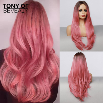 Długie faliste brązowe do różowego włosy typu Ombre peruki środkowa część żaroodporne peruki syntetyczne dla Afro kobiety Cosplay Payty naturalne peruki
