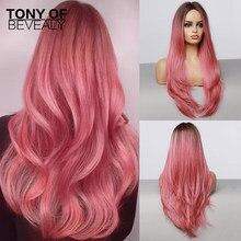 Длинные волнистые парики из коричнево-розовых волос с эффектом омбре, термостойкие синтетические парики средней длины для афро-женщин, нат...
