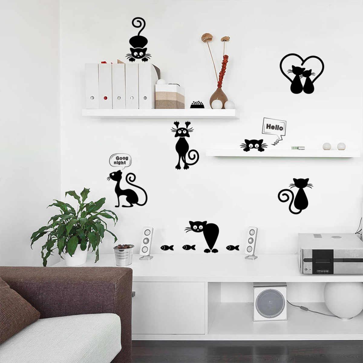 이동식 벽 스티커 만화 검은 고양이 빛 스위치 스티커 비닐 벽지 DIY 장식 전사 술 아트 벽화 아기
