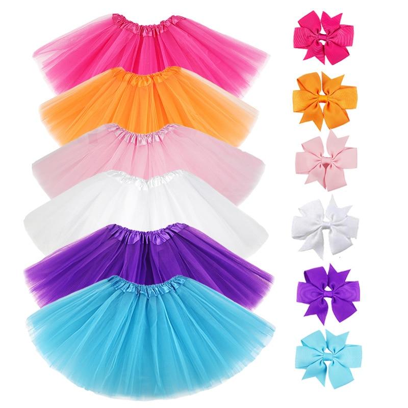 0-8Y Pink Tutu Skirt with Hear-clip for Kids Princess Girls Petticoats Birthday Party Dance Wear Kawaii Skirts 1