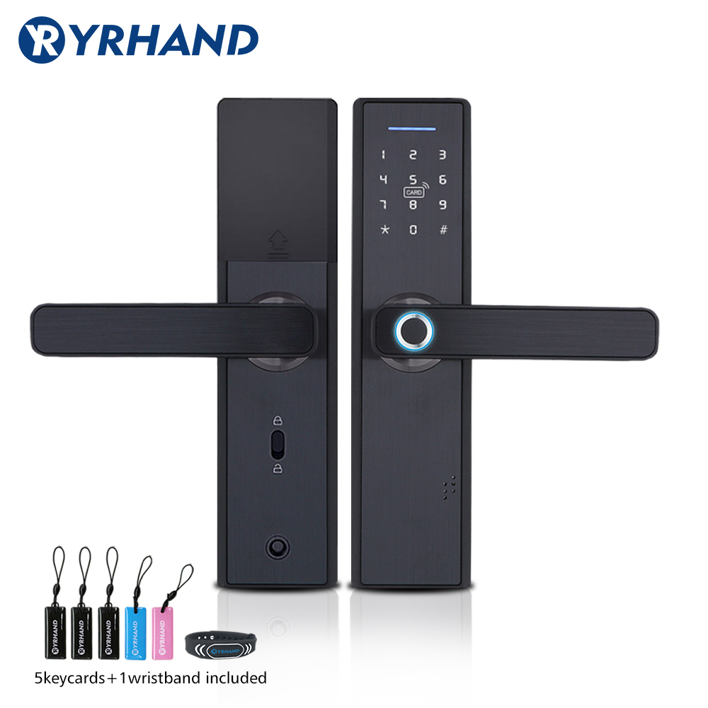 YRHAND Fingerprint Lock Smart Card Digital Code Electronic Door Lock Home Security Mortise Lock