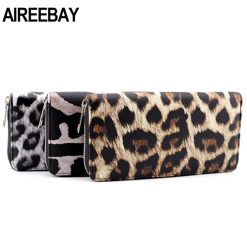 AIREEBAY Leather Women Wallet Classic Leopard Animal Print Long Wallets Female Cards Holder Clutch Bag Fashion Ladies Purses
