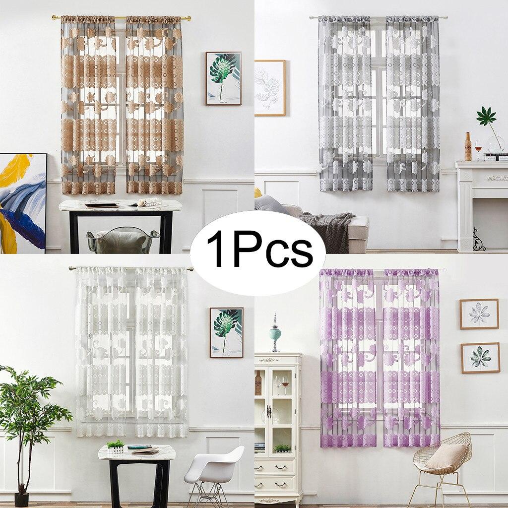 Leaves Flower Vine Peony Short Curtain Wear Rod 130x100cm Sheer Curtain Tulle Window Voile Drape Valance 1 Panel Fabric #45