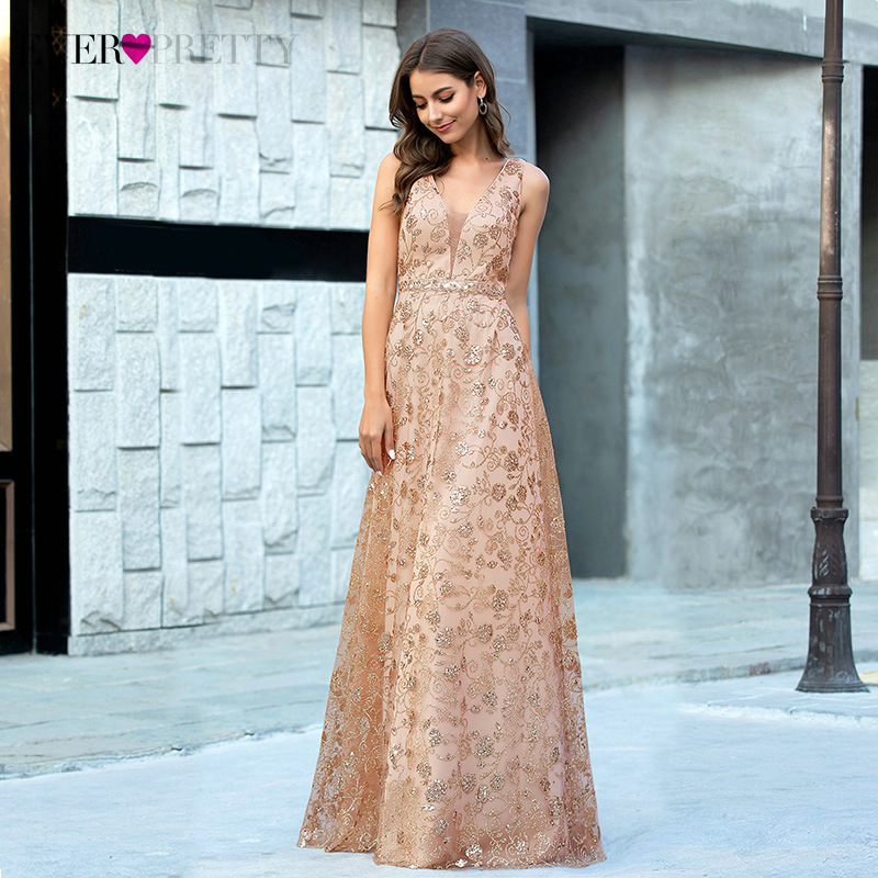Sexy Rose Gold Prom Dresses Ever Pretty A-Line V-Neck Spaghetti Straps Sequined Sleeveless Sparkle Party Gowns Vestiti Lunghi