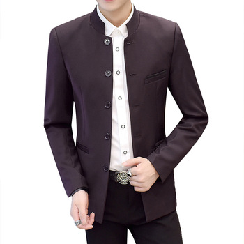 2020 men new collar pure color suit youth five leisure suit