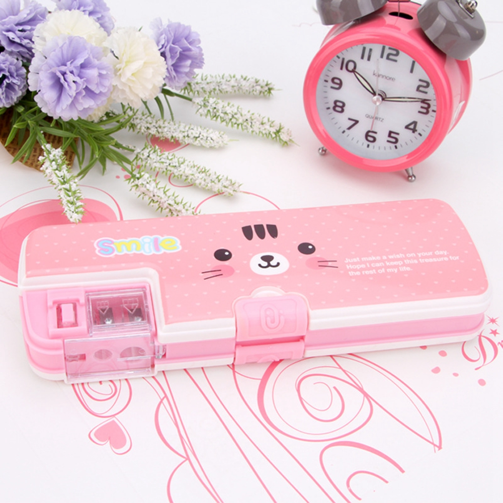 1pcs Cute Simple Multi-function Pencil Case Pencil Box Plastic Storage Box Learning Stationery Office Supplies