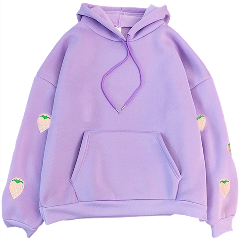 H490b12ca070a452fa32425b8aedc5578G - Harajuku Strawberry Embroidery Lavender Pink Sweatshirt Autumn Winter Women Kawaii Loose Long Sleeves Tops Oversized Hoodies XXL