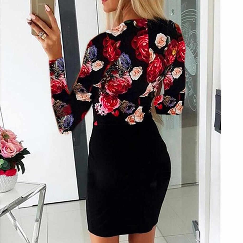 Vrouwen Plus Size Jurk Sexy V Hals Lange Mouwen Rose Gedrukt Button Party Mini Jurken Elgant Bodycon Jurken Vrouw Party night
