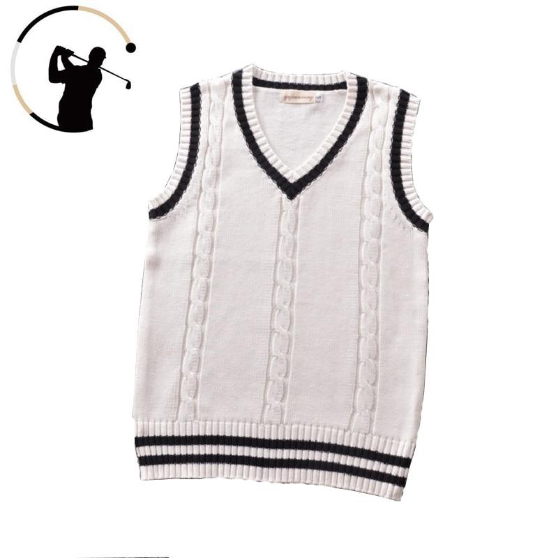 Golf Sweater Vest Men Women Cotton Knitted Warm Vest College Style Sweater Vest V-neck Pullover Waistcoat