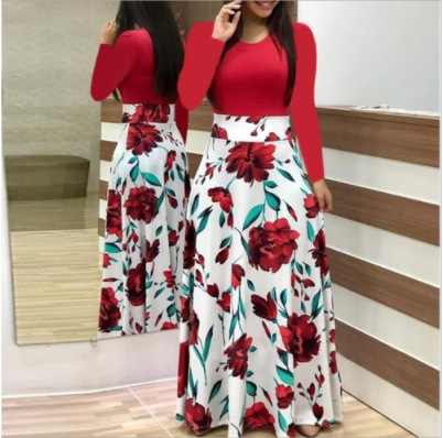 2019 Autumn Hot Selling Bao Ban Western Style Flower Printed Mixed Colors Dress Long Skirts Long Sleeve WOMEN'S Dress