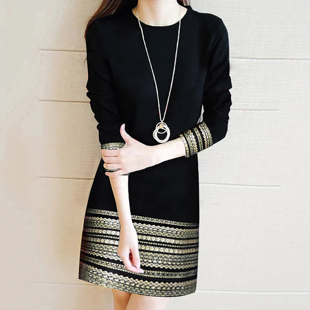 Dress Women Autumn Winter Long Sleeve Dress Elegant Splice Casual Dress Loose Over The Knee Dress