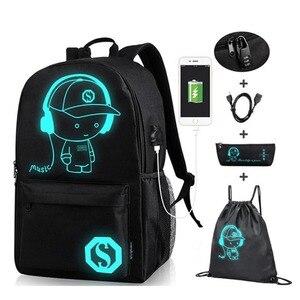 Image 4 - Аниме световой Оксфорд школьный рюкзак для верховой езды сумка под 15,6 дюймов с зарядка через USB Порты и разъёмы и блокировки школьная сумка для мальчиков и девочек