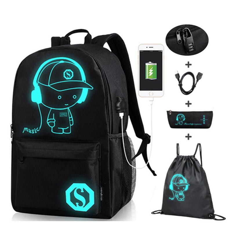 Anime Luminous Oxford School Backpack Daypack Shoulder Under 15.6 Inch With USB Charging Port And Lock School Bag For Boy Black
