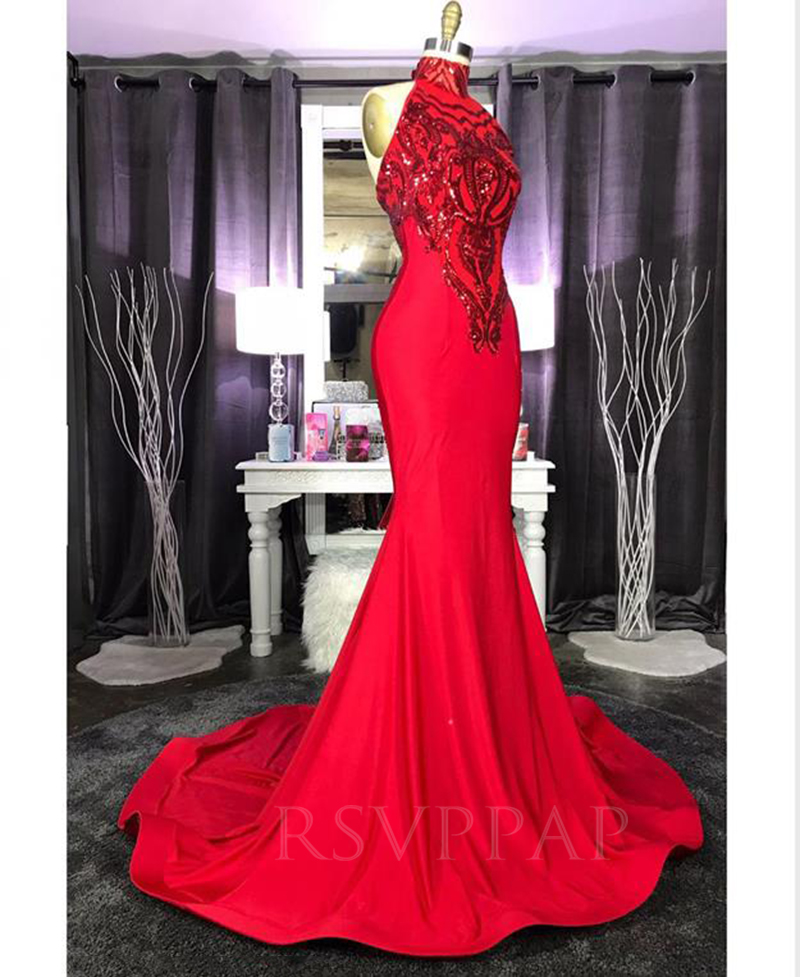 African Black Girl High Neck Sequin Top  Elegant Long Red Mermaid Prom Dresses 2020