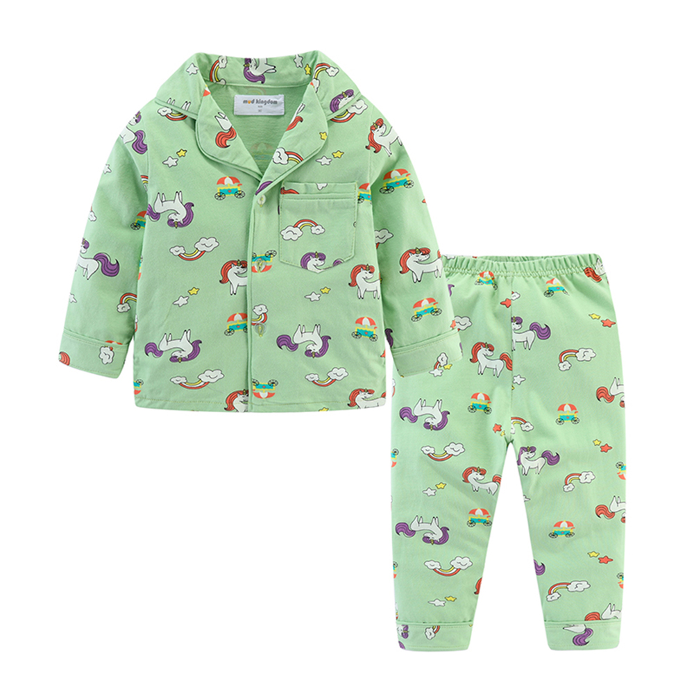 Mudkingdom Boys Girls Pajamas Set Callared Long Sleeve Cute Cartoon Autumn Toddler Pajama Kids Sleepwear Print Children Clothes 5