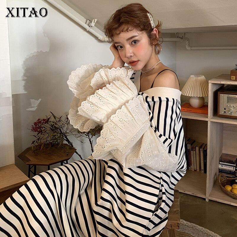 XITAO Elegant V Neck Petal Sleeve Midi Dress Women Tide Fashion Individuality Stripe Loose Plus Size Dress 2019 Autumn WQR1687