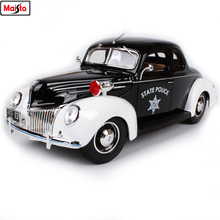 Maisto 1:18 1939 Ford Police Car Alloy Retro Model Classic Decoration Collection gift