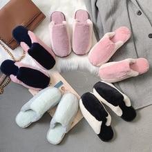 Women keep warm slippers Winter home non-slip flat shoes artificial fur slides furry for women shoe