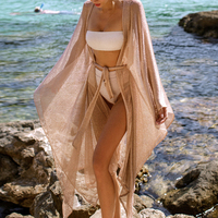 2021 Sexy Long Loose Cardigan Beach Cover Up Women Bikini Cover Up Summer Beach Coat Outer Swimsuit Female Cover Up Bather Swim 1