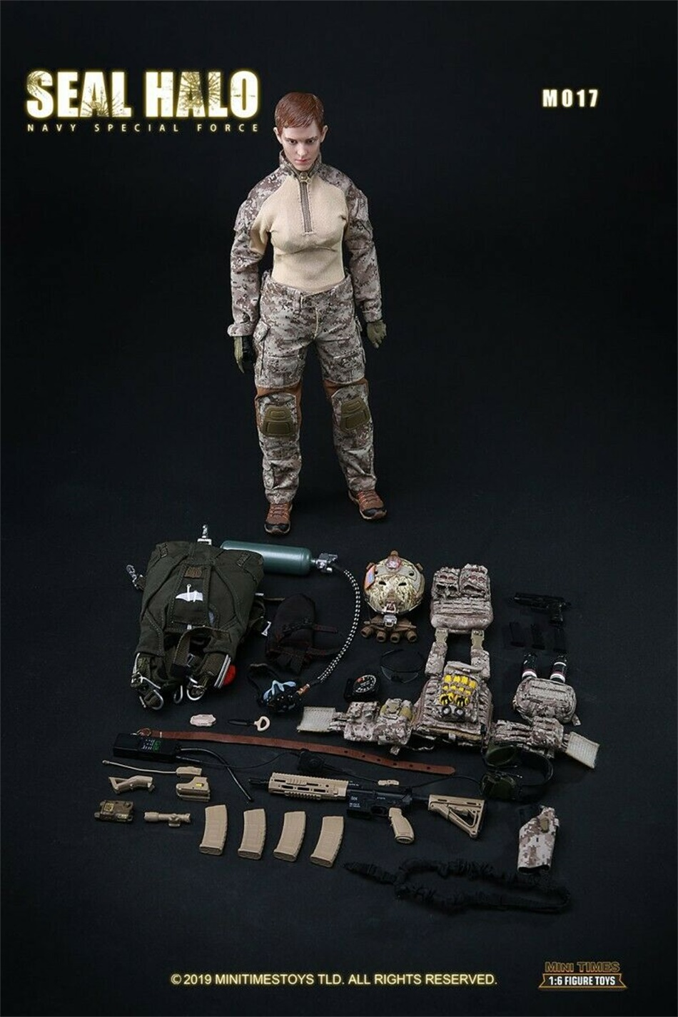 """minitimes toys M017 1//6 SEAL HALO Night Jumping HK416 Sets Model For 12/"""" Doll"""