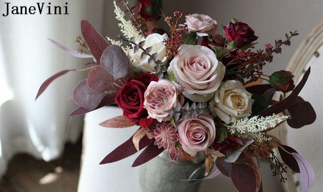 JaneVini 2020 nouvelle soie fleur mariage Bouquet mariée Rose Artificielle Vintage bourgogne plantes artificielles mariée fleurs Bouquets