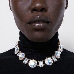 Melhor senhora za novo design de cristal presente correntes colar para o casamento feminino vidro espumante colar bonito menina festa colar jóias